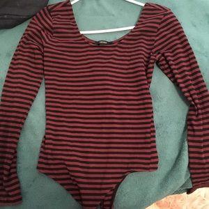 Forever 21 Striped Long Sleeve Bodysuit